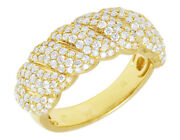 14k Yellow Gold 1.8ct Real Diamond Twisted Band Ring 9mm