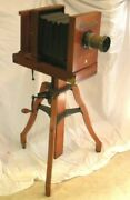 Antique Century No.5 Camera W/ Stand And Portrait Lens Series A F-5 6 1/2 X 8 1/