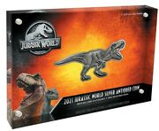 Jurassic World - T-rex Shaped Andndash 2021 5 2 Oz Silver Antiqued Coin In Case - Niue