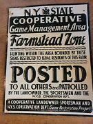 Tin Early Ny Cooperative Sign Game Management Farmstead Zone Hunting Fishing Gun