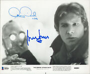 Harrison Ford And Anthony Daniels Star Wars Signed 8x10 Bandw Photo Bas A80550