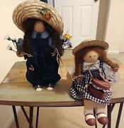 Vintage Lizzie High Maisie Bowman And03996 And Betsy Valentine And03988 Wooden Folk Dolls
