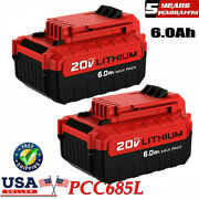 2 20 Volt Lithium-ion Battery For Porter Cable 20v Max 6.0ah Pcc680l Pcc685l Us