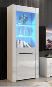 Display Cabinet White Gloss Glass Fronted Led Lights Ml09