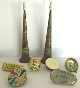 Lot Of 8 Antique New Year's Tin Litho Horn 15 Inch And6 Noise Maker Party Favor