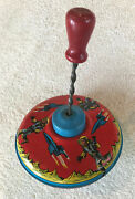 Vintage Tin Ohio Art 6 Spinning Top Wood Handle, Astronauts And Rockets Works