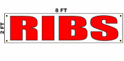 Ribs Banner Sign 2x8 For Business Shop Store Bbq Restaurant Beef Pork Spare