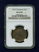 British Honduras 1904 1 Cent Coin, Choice Uncirculated, Certified Ngc Ms-64-bn
