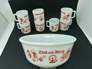 Vintage 1950s Atlas Milk Glass Tom And Jerry Christmas Punch Bowl W/ 7 Cups