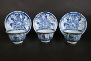 19th Century Handpainted Chinese Cup And Saucers Long Eliza With Kangxi Mark