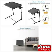 Adjustable Tv Tray Table - Tv Dinner Tray On Bed And Sofa, Comfortable Folding Tab