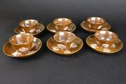 18th Century Kangxi Chinese Porcelain Cup And Saucers Chocolate Brown Rouge De Fer
