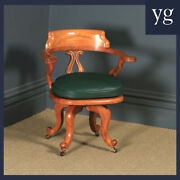 Antique English Victorian Birch And Green Leather Revolving Office Desk Arm Chair
