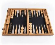 We Games Natural Cork And Wood Backgammon Set, Made In Greece, 19 In