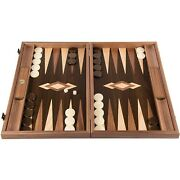 We Games Luxury Walnut Tree-trunk Backgammon Set, Made In Greece, 19 Inches