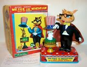 Mint 1960and039s Battery Operated Mr. Fox The Magician Tin Litho Magic Toy Mib Japan