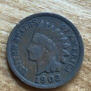 Very Good 1902 Indian Head Cent Vg 119 Year Old Penny - Exact Coin Pictured A6