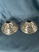 Matching Set Of Antique Shreve And Co Sterling Silver Candle Lamp Shades 2389
