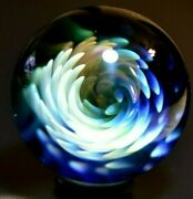 Ethan Lesch Glass Marble/1.410-transparent Spiky Whirlwind-copper,orange,blue+