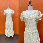 Vintage 1990s Does 1920s 1930s Flapper Beaded Ivory Lace Dress Gown Party