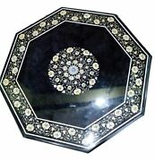 30and039and039 Antique Black Coffee Center Marble Table Top Inlay Malachite Mosaic Home