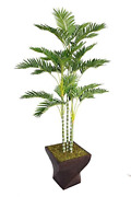 Vintage Home Green Emerald Artificial Faux Palm Tree With Fiberstone Planter For