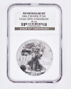 2006-p/w Silver American Eagle Reverse Proof Ms69 And Pf69 - Set Of 3 Coins