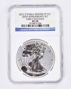 2011-p/s/w Silver American Eagle Reverse Proof Ms70 And Pf70 5pc Anniversaryset