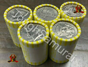 5 Rolls Of Half Dollar Coins, Unsearched, Fed Sealed,possible Silver,50 Fv Coin