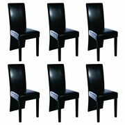 Set Of 2/4/6 Dining Chair Artificial Leather Padded Kitchen Chairs High Back New