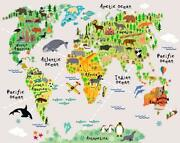 Map Wall Decals Kids Wall Stickers Wall Decor - 254x368-cm