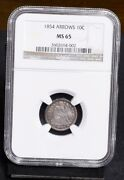 1854 Liberty Seated Dime - With Arrows - Ngc Ms65 36134