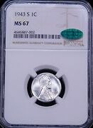 1943-s Lincoln Steel Cent Ngc Ms67 Cac Bright With Gorgeous Luster Ppq Ge446