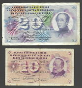 Pair Of Swiss Notes 10 Franken P45a And 20 Franken 46c Better Note 0430-55