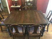 Antique Royal Mantel And Furniture Set Dining Table Chairs Hutch China Cabinet