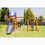 Backyard Wooden Swing Set Playground For 8 Kids Fort Shade Canopy Slide Climbing