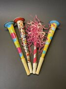 Vintage 1950s 1960s Halloween New Years Tin Metal Noisemaker Horn Toy Lot Of 3