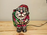 9h Santa Claus Style Stained Glass Accent Lamp Vtg Christmas Decoration