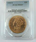 1904-s Pcgs Ms64+ Liberty Double Eagle 20 Gold Brilliant Uncirculated 41294837