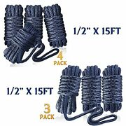Greenever Dock Lines Boat Ropes - 1/2 X 15and039 Premium Double-braided Nylon Moo...