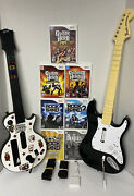 2 X Guitar Rock Band W Dongle And Guitar Hero And 7 Games Nintendo Wii Bundle Lot