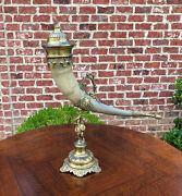 Antique French Trophy Drinking Horn Hunt Epergne Renaissance Brass Statue 19th C