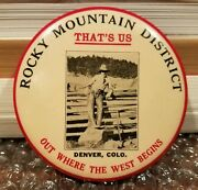 Vintage Cowboy Rocky Mountain District Denver Colo Old West Advertising Mirror