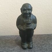 Antique Cast Iron Coin Bank Man Holding Hat