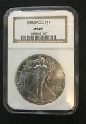 1986 1 American Silver Eagle Ngc Ms69 Classic Brown Label