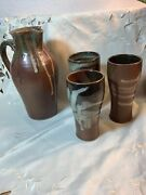 Vintage Ceramic Artist Made Brown Drip Glaze Drink Pitcher And 3 Cup