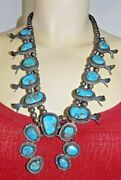 Vintage Native American Navajo Turquoise Stone Squash Blossom Silver Necklace