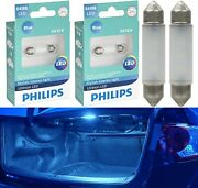 Philips Ultinon Led Light 6418 Blue 10000k Two Bulbs License Plate Tag Replace