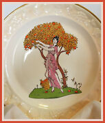 Vintage Palissy Pottery 9 Plate Maiden Woman Apple Tree Embossed Edge Lovely
