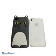 💕 Apple Iphone 4s White 16gb With Gray Cat Silicone Phone Cover Case Works G1